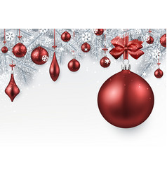 Silver background with red christmas ball vector