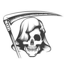 skull in hood with scytattoo vector image