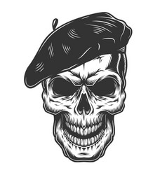 skull in the painter hat vector image