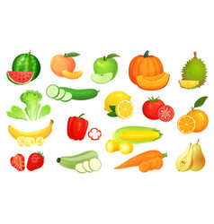 Sliced foods chopped vegetables and fruit vector