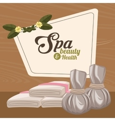 spa beauty and health herbal compress and towel vector image