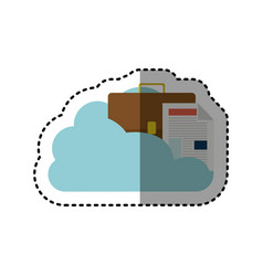 Sticker cloud in cumulus shape with briefcase and vector