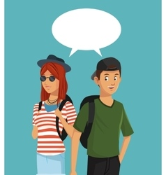 teens boy and girl talking bubble speech vector image