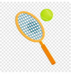 Tennis racket with a tennis ball isometric icon vector