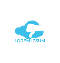 Thumbs down cloud shape logo design vector