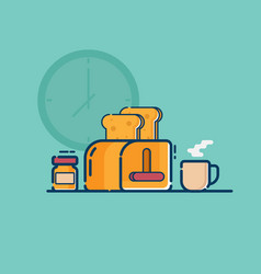 toaster and peanut butter jar with hot coffee cup vector image