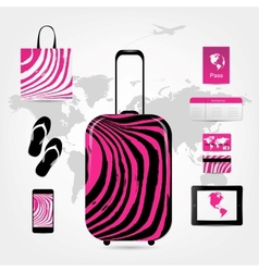 Travel suitcase with set of icons pink zebra style vector image