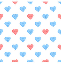 Valentine day pattern with conversation hearts vector