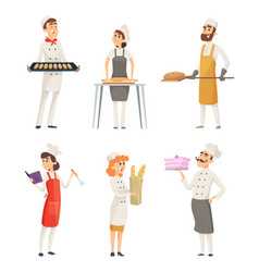 various cartoon characters bakers at work vector image