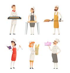 Various cartoon characters bakers at work vector