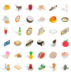 Vital activity icons set isometric style vector