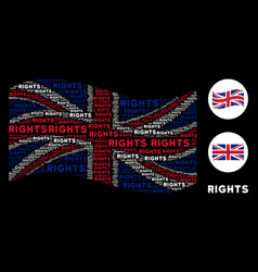 Waving united kingdom flag collage of rights text vector