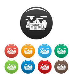 western saloon icons set color vector image