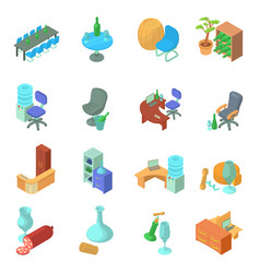 Wine office icons set isometric style vector