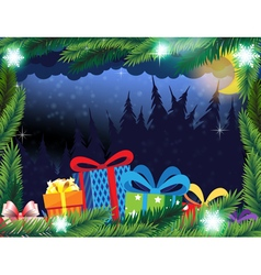 Winter forest and Christmas presents vector image