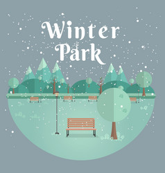 winter park natural landscape in the flat style vector image