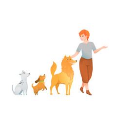 woman dog lover owner walking with tree dogs dog vector image
