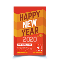 yellow new year poster template vector image