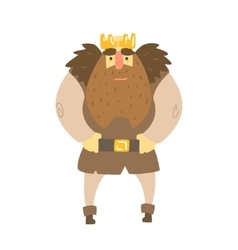 Barbarian king with animal pelt on shoulders vector