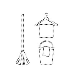 broom bucket and hanger sign black vector image