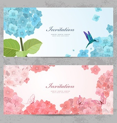 Collection of beautiful romantic banners hydrangea vector image