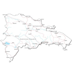 Dominican Republic Black White Map vector image vector image