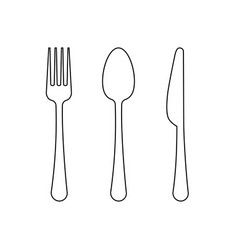 drawing of a thin line of a fork a spoon vector image