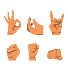 hands gestures in six icons on white background vector image vector image