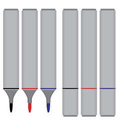 Marker Black Red Blue with cover isolated on white vector image vector image