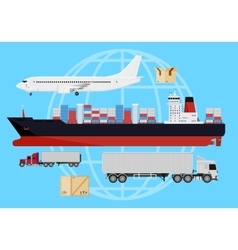 Shipping vehicles composition vector image vector image
