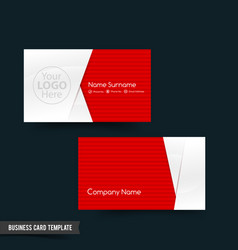 business card template set 64 red and white basic vector image