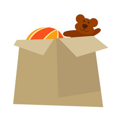 Cardboard box with childish toys isolated cartoon vector