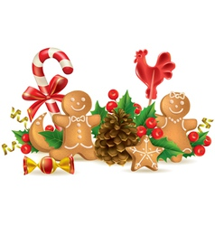 Christmas candy and decorations vector image vector image