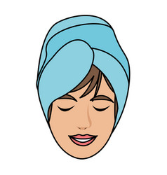 color image cartoon face woman with towel in head vector image vector image