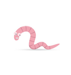 cute funny smiling worm with teeth vector image vector image
