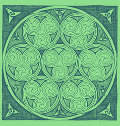 green celtic spirals patterns in ink hand drawn vector image