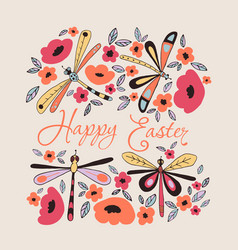 happy easter floral card vector image
