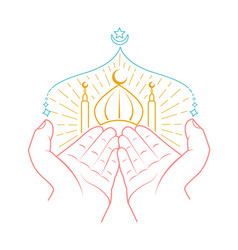 icon of hands praying namaz vector image vector image