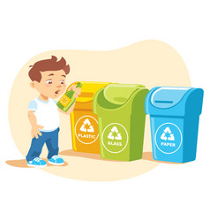little boy recycling garbage vector image