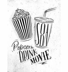 poster soda popcorn vector image