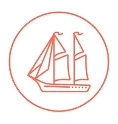 Sailboat line icon vector image