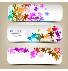 Set of three banners with mosaic made from puzzle vector image vector image
