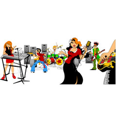 beautiful singer and music group vector image vector image