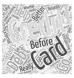 Before You Go For Credit Card Debt Help Word Cloud vector image vector image