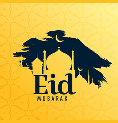 eid festival greeting background with mosque vector image vector image