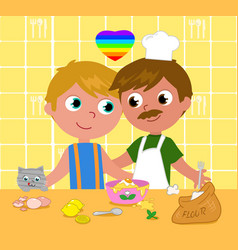 gay couple cooking happily vector image