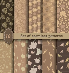nature style seamless patterns vector image