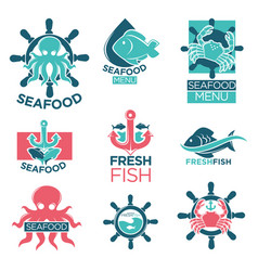 seafood colorful logo labels flat set on white vector image vector image