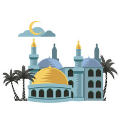 yellow dome mosque vector image