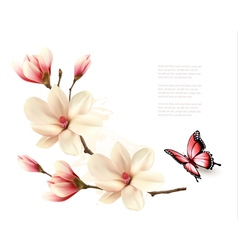 Beautiful white magnolia branch with a butterfly vector